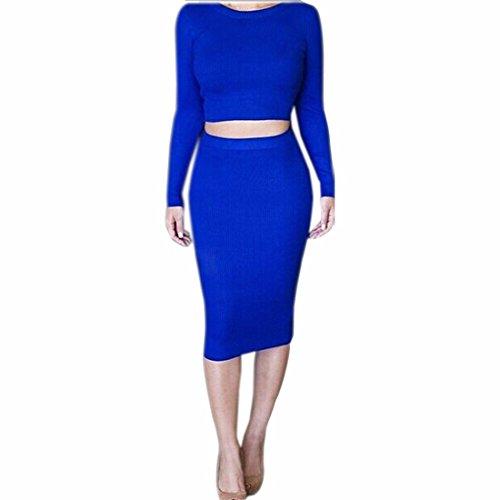 les femmes rondes cou robe mince de coton à manches longues robes deux pièces de cocktail Bleu