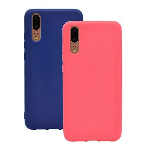 Misstars Silikon Hülle für Huawei P20, Soft Flex TPU Case im Candy Design Ultra Dünn Matt Weich Handyhülle Anti-Stoß Kratzfeste Schutzhülle für Huawei P20, Rot + Dunkelblau
