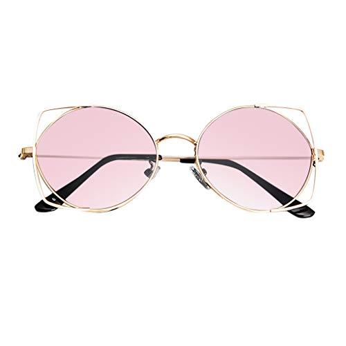 fazry Sonnenbrille für Damen Cat Eye verspiegelte flache Gläser, Metallrahmen Gr. Einheitsgröße, rose