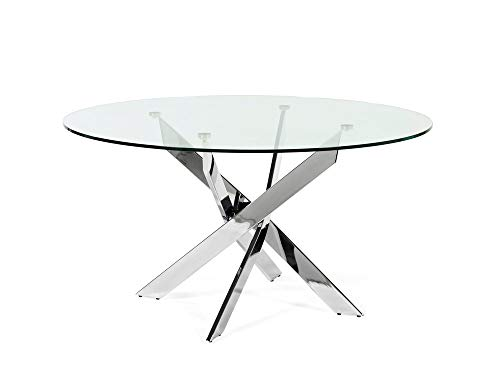 Delamaison Table à Manger Ronde en métal et Verre trempé York Metal Chrome