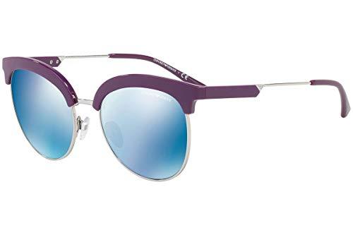 Emporio Armani EA4102 Sonnenbrille Violett Silber Mit Blauen Verspiegelten Gläsern 561.055 EA 4102