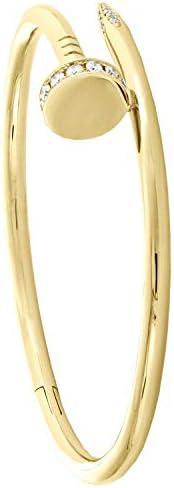 Women's Fashion Jeweled Gold Plated Nail Round Just Un Clou Diamond Brac