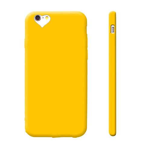 iProtect TPU Schutzhülle Apple iPhone 6, 6s Soft Case in matt Rosa love gelb