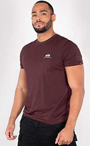 Alpha Industries Basic T Small Logo T-Shirt Mahagoni M - Mahagoni Brust
