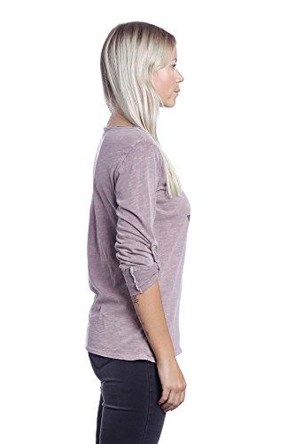 Abbino 1372 Magliette Tops Ragazze Donne - Made in Italy - 2 Colori - Estate Autunno Primavera Classiche Semplici Cotone Maniche Lunghe Shirts Casual Saldi Bluse Maglie Tempo Libero Rosa (Art. 1676)