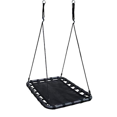 kel Kinder Hängen Riesen Decke Spielzeug Schaukel Kindheit Bildung Stahl und Stoff Hause Balkon Square Swing (Color : Black, Größe : 9.37 * 29.52inchs) ()