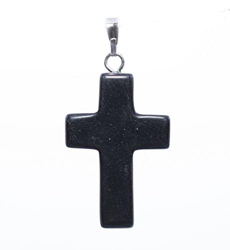 Onice nera, 25 mm, con ciondolo a forma di croce, catenina in argento con medaglione & Box