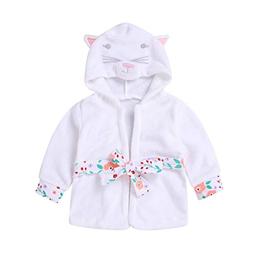 Chennie 1-5T Baby Kleinkind Mädchen Coral Fleece Bademantel Tier Kapuzenhandtuch Robe Nachtwäsche (Color : White, Size : 1-2T) - 4t-kapuzen-handtuch