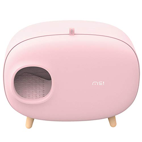 Mais-Katzentoilette, vollständig geschlossener Bentonit-Katzentopf, integriertes Design, Verkürzung der Schaufellinie und langsame Geruchsabgabe,Pink (Fluggesellschaft Genehmigt Hund Zwinger)