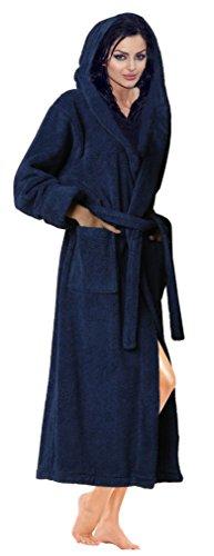 Skylinewears accappatoio con cappuccio e accappatoio in cotone 100% spugna marina militare-l