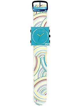 S.T.A.M.P.S. Stamps Uhr KOMPLETT - Zifferblatt Funky Blue mit Lederarmband Rainbow