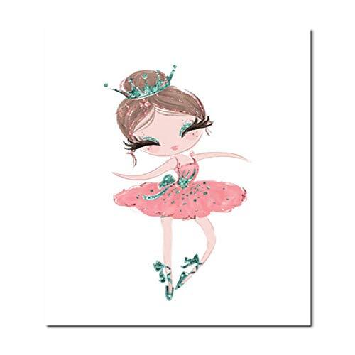 Kind Kunst Cartoon Ballett Gemälde Kinderzimmer Leinwand Wand Poster für Wohnzimmer Mädchen Zimmer Wand Drucke Ungerahmt (Denke Ballett)
