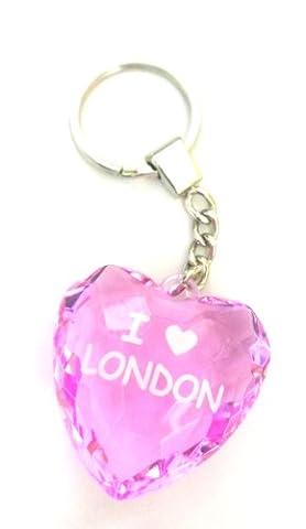 J'adore Londres porte-clés en verre rose / rose coeur forme porte-clés / London Souvenirs Keyring rose en verre en forme de coeur - I Love London Keychain - porte-clés Souvenir de