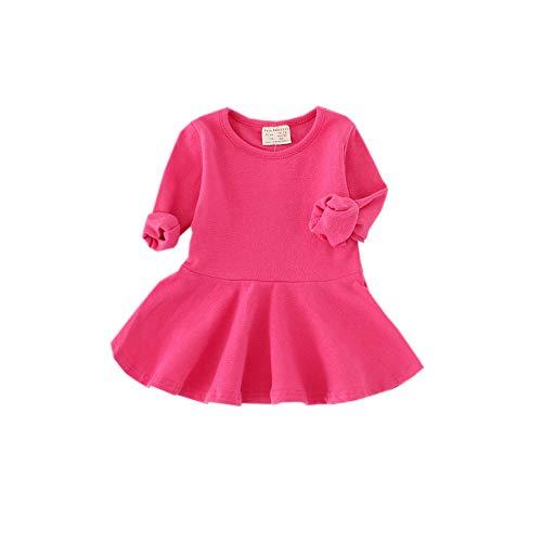 Fairy Baby Kleinkind Mädchen Basic Casual Kleid schlank Lange Ärmel Baumwolle Strampler Size 9-12M (Pflaume rot)