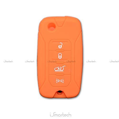 Ismartech cover colorata protezione in silicone morbido per scocca guscio chiave 3 tasti pieghevole auto jeep renegade cherokee copertura del telecomando disponibile in vari colori (arancione)