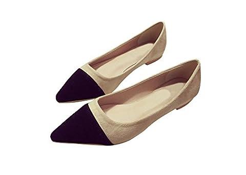 Verocara Women's MSL03 Sexy Fashion Pointed Toe Flat Shoes Black 4.5 UK