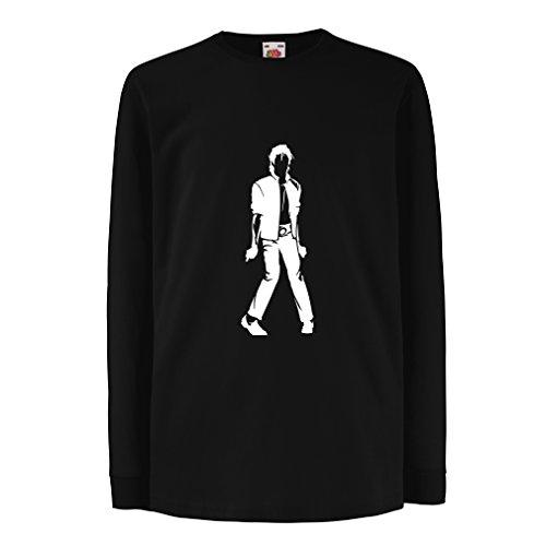 lepni.me Kinder-T-Shirt mit Langen Ärmeln Ich Liebe M J - King of Pop, 80er Jahre, 90er Jahre Musical Shirt, Partykleidung (12-13 Years Schwarz Weiß)