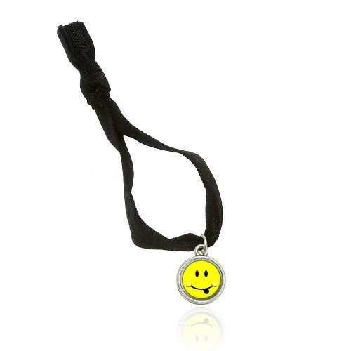 Happy Face Tongue Sticking Out Bracelet Double Fold Over Stretchy Elastic No Crease Hair Tie With Charm