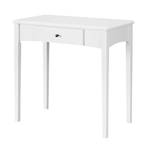 Homfa Schreibtisch 1 Schublade Schminktisch Arbeitstisch Computertisch Esstisch PC-Tisch Laptoptisch Kippsicherung modern weiß Holz 80x76x48cm