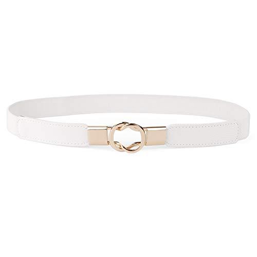 JasGood Damen Dünne Elastische Taille Gürtel Dehnbar Retro Haken Gürtel für Kleid, Weiß, Taillenumfang 81cm-105cm (Weiße Stretch-gürtel)