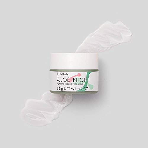 HelloBody ALOÉ NIGHT Hydrating Sleeping Face Cream (50 ml) - Vegane Nachtcreme - Gesichtscreme mit Pflaumenkernöl - Pflegende Feuchtigkeitscreme - Aloe Vera -