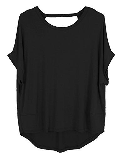 Emma & Giovanni Sommer T-Shirt/Oberteile mit Offenem Rücken + Bogen- Damen Schwarz