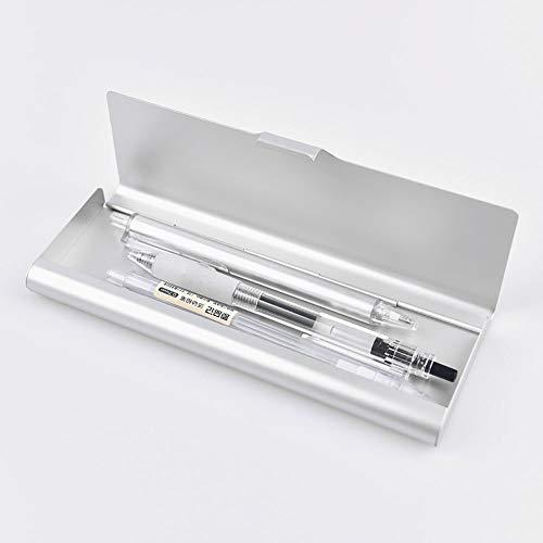 Astuccio portapenne Kingt in metallo astuccio portapenne argento lucido semplice semplice e moderno in alluminio 17,5 x 6 cm