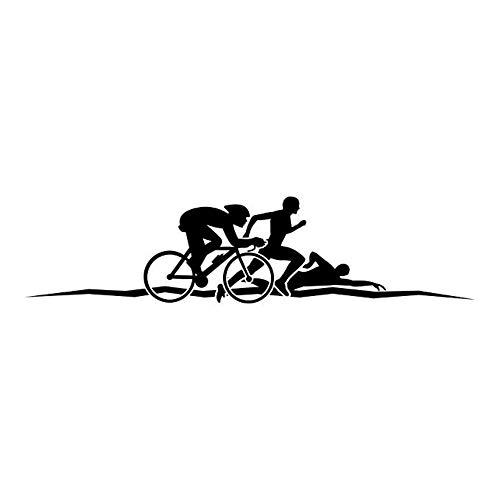 Triathlon Wandaufkleber Laufen Schwimmen Zyklus Wandtattoo Leichtathletik Sport Home Decor Verfügbar 50X12 Cm
