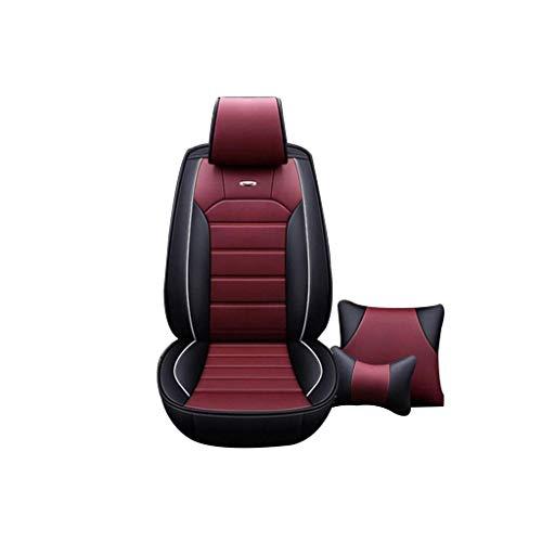 Autositzbezug / 5-Sitzer-GM-Autositzbezug/atmungsaktiv, rutschfest / 5D-Stereo-Leder/kompatibler Airbag-Sitzbezug / 5 Farben optional, (Farbe : Black Wine red) Gm-stereo