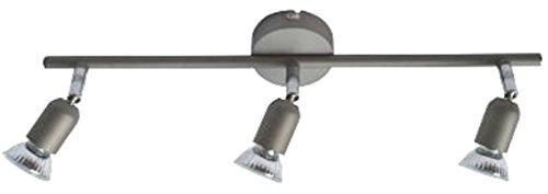 Halogen Hochvolt Strahler Spot Linos 3 flammig titan inklusive Leuchtmittel 3 x 50W Deckenlampe -