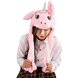 dressfan Femme Fille Cosplay Costume Drôle Peluche Rose Oreille Licorne Chapeau Jouet Cadeau D'anniversaire En Appuyant Sur Le Bonnet De Licorne