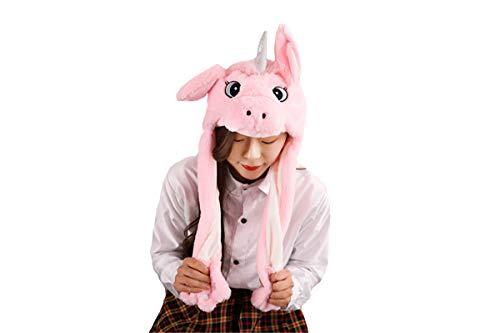 Hut Kostüm Pikachu - dressfan Dame Mädchen Plüsch Rosa Einhorn Ohr Hut Spielzeug Geburtstagsgeschenk Durch Drücken Der Einhornmütze Bewegen Die Ohren Des Einhorns Sich Bewegen