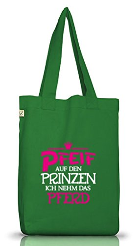 Shirtstreet24, Pfeif auf den Prinzen, Prinzessin Jutebeutel Stoff Tasche Earth Positive (ONE SIZE) Moss Green