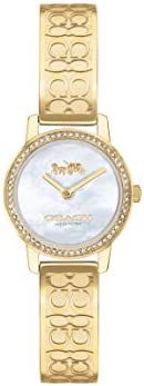 Coach Women'S White Mother Of Pearl Dial Ionic Thin Gold Plated 1 Steel Watch - 1450