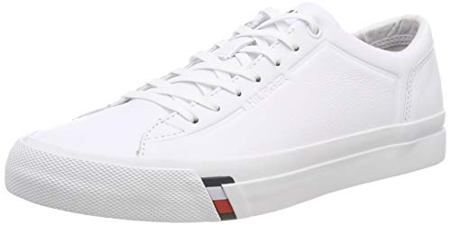 Tommy Hilfiger Herren Corporate Leather Sneaker, Weiß (White 100), 42 EU