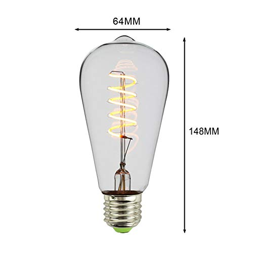 Glühlampen Beleuchtung Leuchtmittel Bühnenlampen Energiesparlampen Edison Energiesparende LED Dimmen Retro Kreative E27 Coffee Shop Kronleuchter ZHAOYONGLI (Farbe : ST64 Single Spiral Gold)