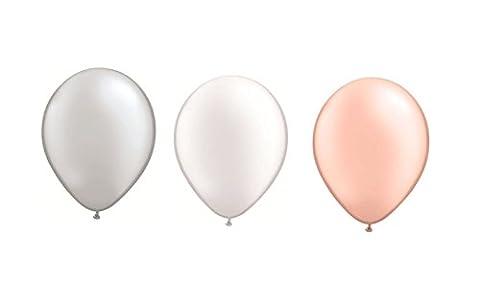 DeCoArt....60 Latexballon Luftballons pastell perl silber weiß und pfirsich je 20 ca. 28 cm und ein weißes Aufblasventil sowie ein DeCoArt...Merkblatt