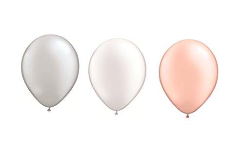 DeCoArt... Set Preis 60 Luftballons Pastell perl Silber, perl weiß und perl pfirsich je 20 ca. 28 cm und 60 Ballonverschlüsse Polyband weiß sowie EIN weißes Aufblasventil sowie Merkblatt