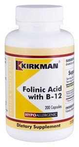 Folinic Acid with B-12 - Hypoallergenic - 200 capsules from Kirkman Labs