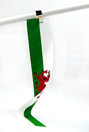 5er-Set Wales miniflag | Fan-Artikel in National-Farben | kleine mini-Fahne | Fan und Party-Fähnchen u.a. für Fußball Handball Beach-Volleyball Tennis Ski WM EM Olympia Sport-Events |