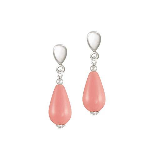 20 - Eternal Collection - Pendientes de clip de color rosa coral con perla de mar del Sur en tono plateado