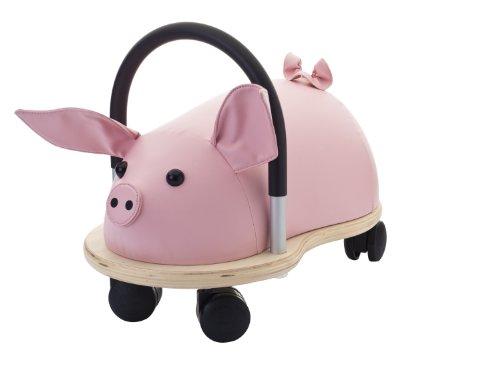 Preisvergleich Produktbild Wheely Bug Ferkel klein, kleines Holzschwein auf Rollen mit Griff, ultimatives cooles Rutschauto, Spaß Car - Auto für jedes Kind