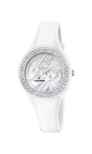 4e83a987c9d5 Calypso K5567 1 – Reloj analógico de mujer de cuarzo con correa de plástico  blanca – sumergible a 100 metros