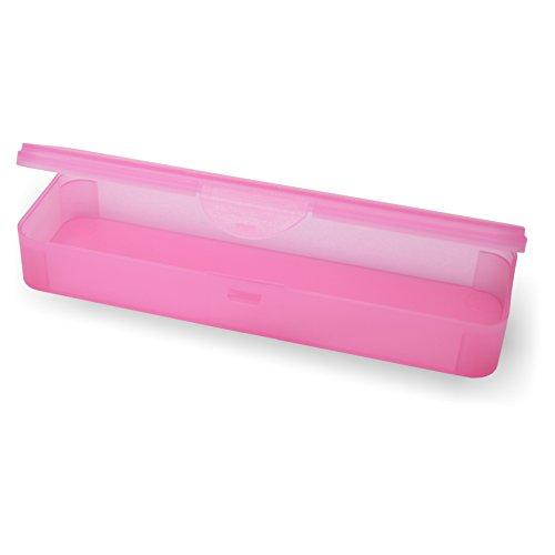 Hygiene-Box Kundenbox Feilenbox Arbeitsmaterial-Box pink transparent 220x65x35 mm LxBxH