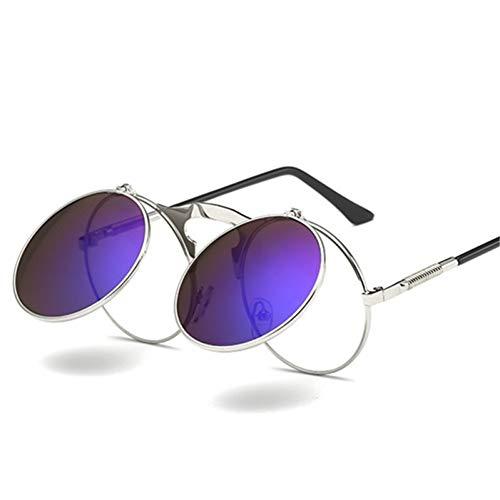 Taiyangcheng Vintage Sonnenbrille Damen Herren Runde Metall Flip Up Sonnenbrille Lady Retro Eyewear Uv400,A2