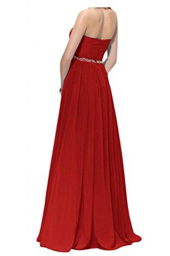 Toscane ladiesfashion forme de mariée à perles chiffon abendkleider-les demoiselles dhonneur party promkleider ball Rouge - Rouge