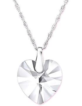 Bungsa© Echtschmuck SILBER Halskette mit SWAROVSKI® Kristall Herz-Anhänger 45cm (Silberkette Damenkette Necklace...