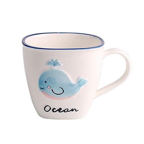 HYDT Bol Assiette en forme de bol pour enfants, Vaisselle pour animaux mignons de dessin animé, Vaisselle de table en céramique pour ménage (Couleur : Blue Whale 4.5 inch rice bowl)