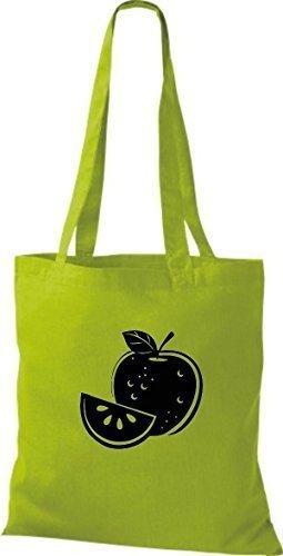 ShirtInStyle Stoffbeutel Baumwolltasche Dein Lieblings Obst und Gemüse Apfel Farbe Fuchsia kiwi