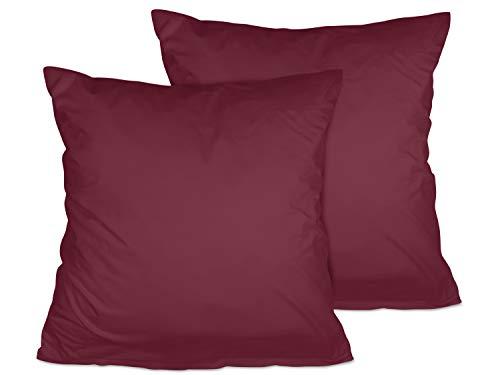 npluseins 2er Pack Kissenbezug oder 1 Set Bettwäsche - Jersey Baumwolle 552.676, 80 x 80 cm, Bordeaux - Super Pack Bettwäsche-set